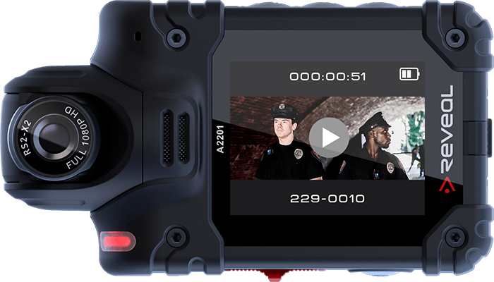 Body cameras with front facing screen
